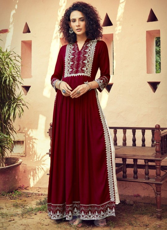 Maroon Rayon Party Wear Kurti With Palazzo Monsoon 1102 By Maisha Sc/018654
