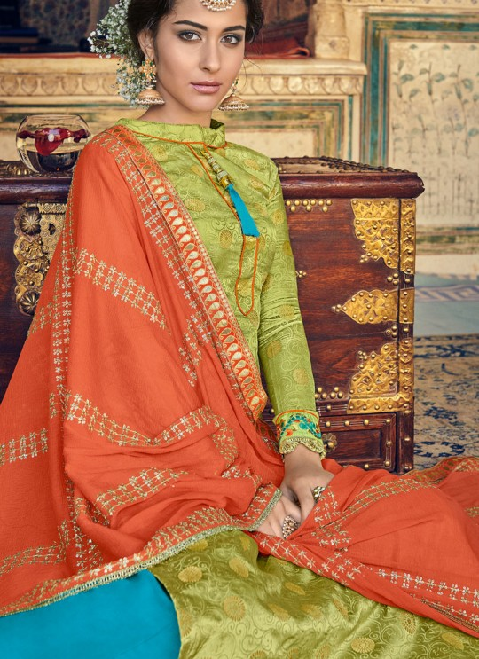 Green Jaquard Embroidered Straight Cut Suit Sultana Vol-2 8102 By Maisha SC/016440
