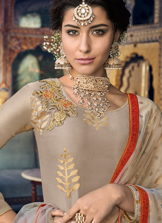 Beige Chanderi  Straight Cut Suit Sultana Vol-2 8105 Set By Maisha SC/016469
