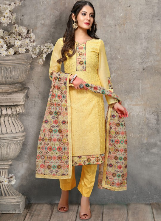 Kalamkari By Viva Fashion VF-1001C Yellow Chanderi Silk Festival Wear Churidar Suit