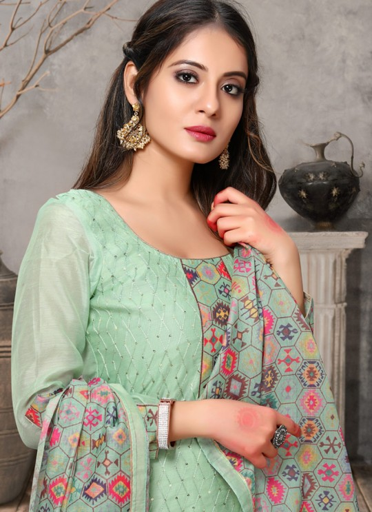 Kalamkari By Viva Fashion VF-1001D Green Chanderi Silk Festival Wear Churidar Suit