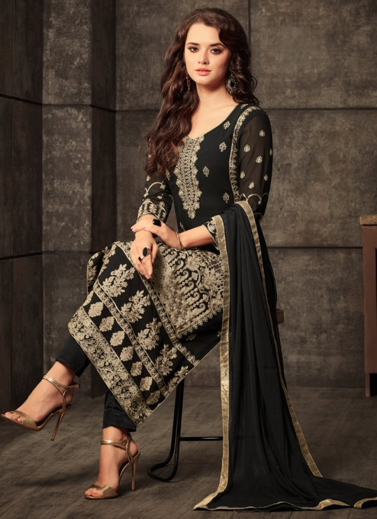 Black Georgette Embroidered Straight Cut Suit Glamour Vol 44 44004 By Mohini Fashion SC/009471