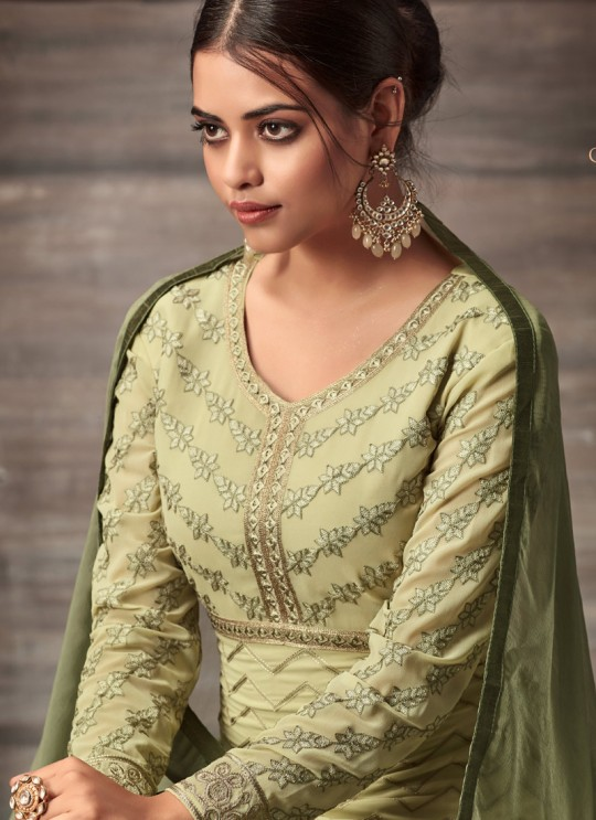 Beige Georgette Embroidered Straight Cut Suit Glamour Vol 48 48003 By Mohini Fashion SC/010221
