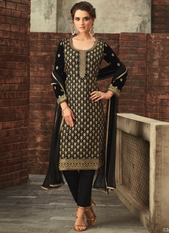 Black Velvet Embroidered Straight Cut Suit Glamour Vol 55 55002 By Mohini Fashion  SC/012649