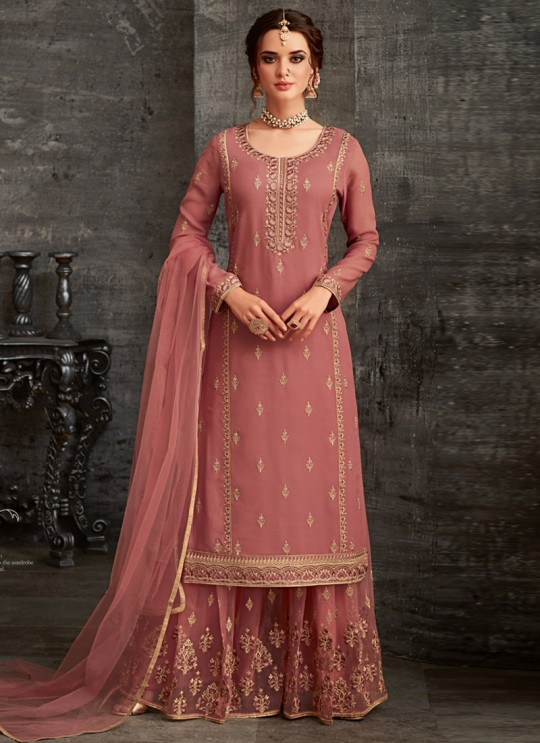 Peach Georgette Palazzo Suit For Wedding Reception Glamour Vol 62 62001 Set By Mohini Fashion SC/014306