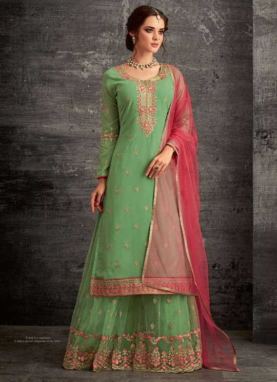 Green Georgette Palazzo Suit For Wedding Reception Glamour Vol 62 62002 Set By Mohini Fashion SC/014306