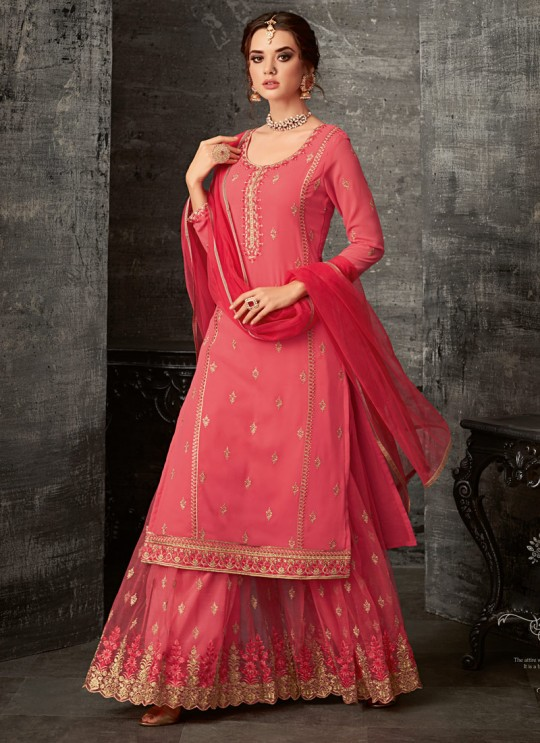 Pink Georgette Palazzo Suit For Wedding Reception Glamour Vol 62 62003 Set By Mohini Fashion SC/014306