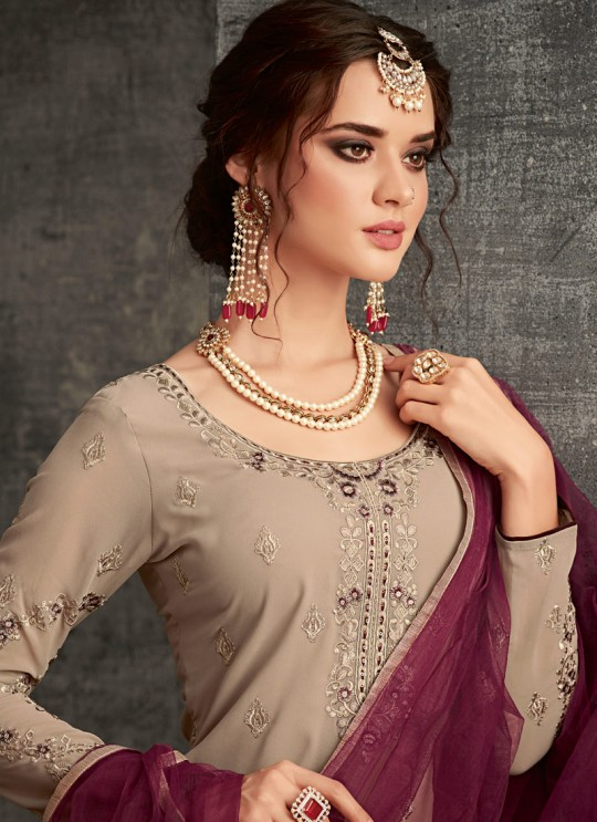 Beige Georgette Palazzo Suit For Wedding Reception Glamour Vol 62 62004 Set By Mohini Fashion SC/014306