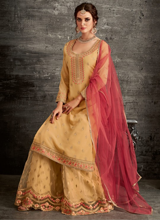 Yellow Georgette Palazzo Suit For Wedding Reception Glamour Vol 62 62005 Set By Mohini Fashion SC/014306