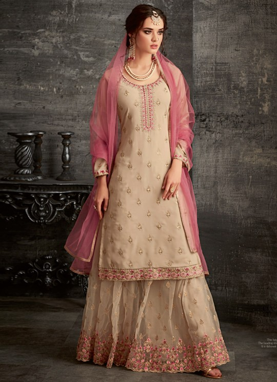 Beige Georgette Palazzo Suit For Wedding Reception Glamour Vol 62 62006 Set By Mohini Fashion SC/014306
