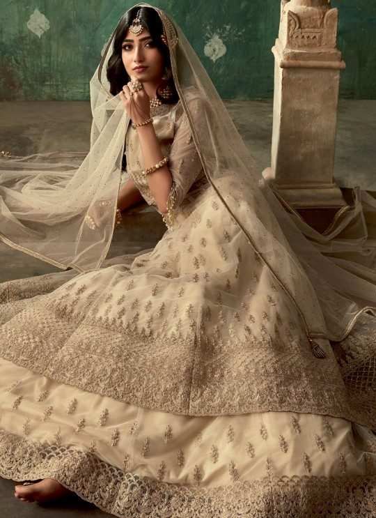 Bridal Net Lehenga Suit In Beige Glamour Vol 78 By Mohini Fashion 78004