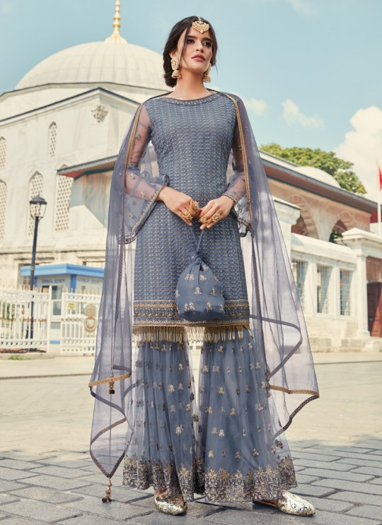 Net Sharara Kameez In Grey Glamour Vol 79 By Mohini Fashion 79003