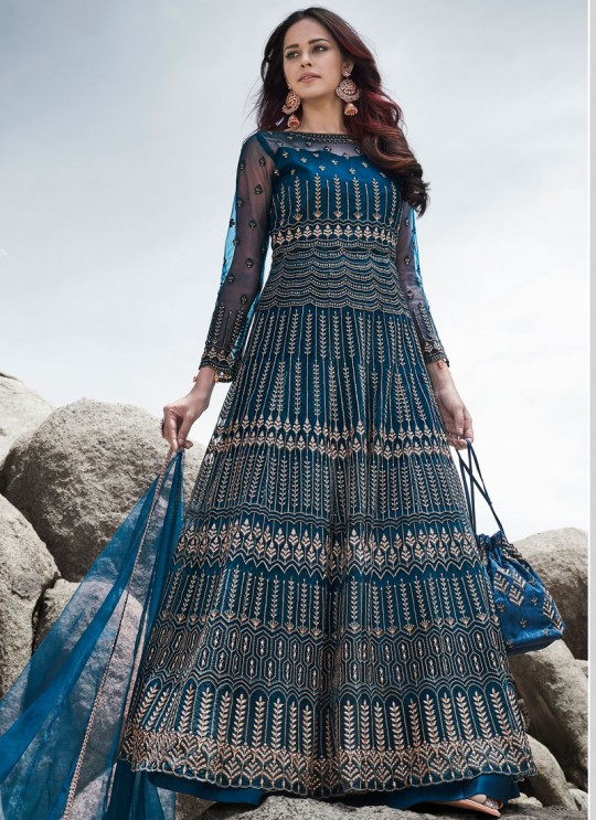 Glamour Vol 83 By Mohini Fashion 83004 Blue Net Designer Bridal Anarkali Suits