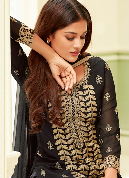 Black Georgette Embroidered Straight Cut Suit Glamour Vol 58 58004 By Mohini Fashion SC/013408