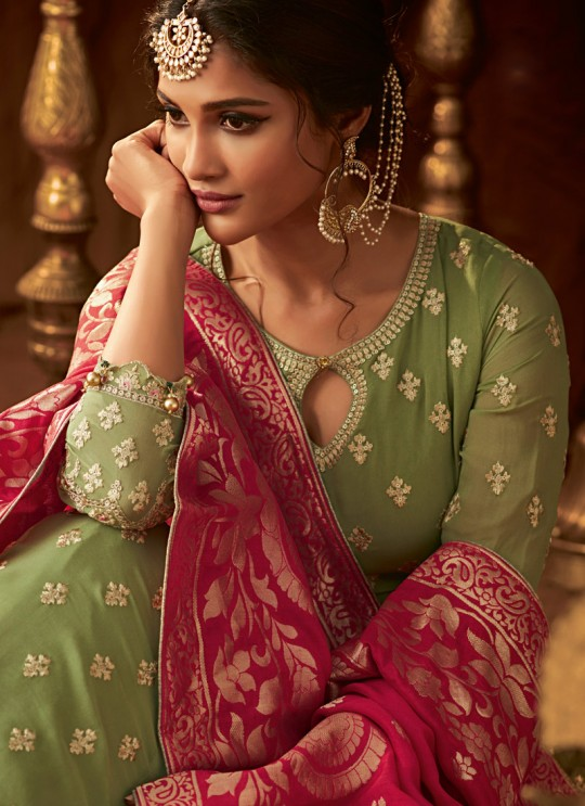 Green Georgette Wedding Anarkali For Bridesmaids Glamour Vol 64 64001 By Mohini Fashion SC/015183