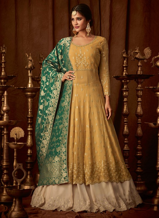 Yellow Georgette Wedding Anarkali For Bridesmaids Glamour Vol 64 64004 By Mohini Fashion SC/015186
