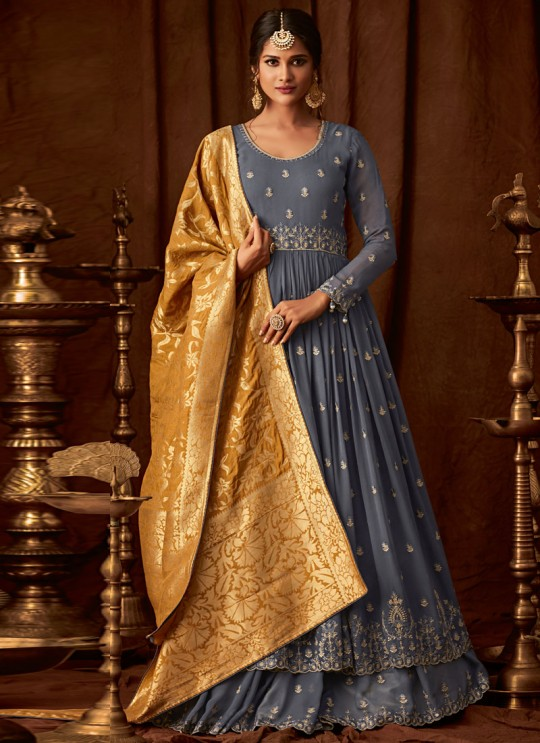 Grey Georgette Wedding Anarkali For Bridesmaids Glamour Vol 64 64005 By Mohini Fashion SC/015187