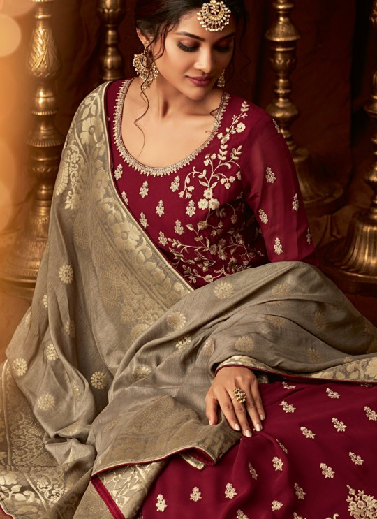 Maroon Georgette Wedding Anarkali For Bridesmaids Glamour Vol 64 64006 By Mohini Fashion SC/015188
