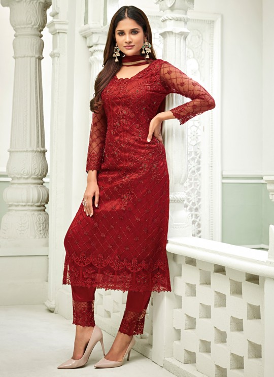 Maroon Net Straight Cut Suit For Mehndi Ceremony Glamour Vol 63 63001 Set By Mohini Fashion SC/015160