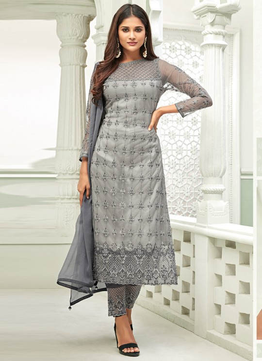 Grey Net Straight Cut Suit For Mehndi Ceremony Glamour Vol 63 63002 Set By Mohini Fashion SC/015160