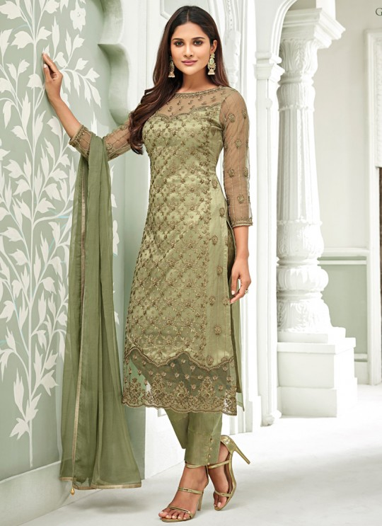Green Net Straight Cut Suit For Mehndi Ceremony Glamour Vol 63 63003 By Mohini Fashion SC/015060