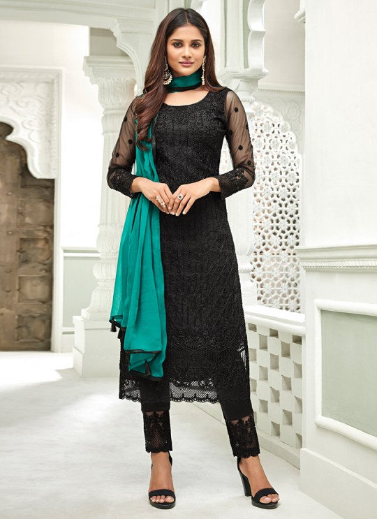 Black Net Straight Cut Suit For Mehndi Ceremony Glamour Vol 63 63004 By Mohini Fashion SC/015061