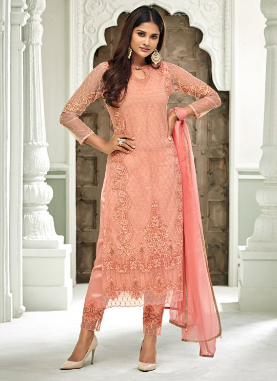 Pink Net Straight Cut Suit For Mehndi Ceremony Glamour Vol 63 63005 Set By Mohini Fashion SC/015160