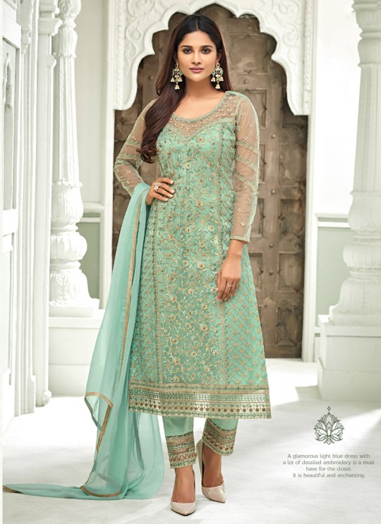 Sea Green Net Straight Cut Suit For Mehndi Ceremony Glamour Vol 63 63006 Set By Mohini Fashion SC/015160