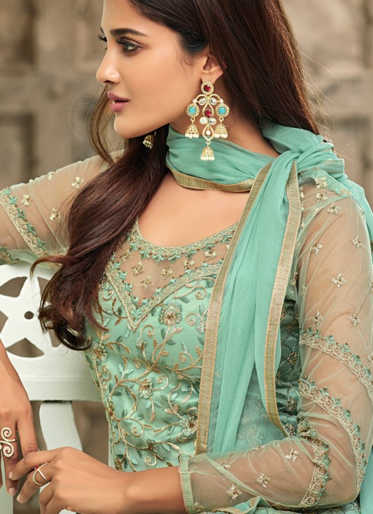 Sea Green Net Straight Cut Suit For Mehndi Ceremony Glamour Vol 63 63006 By Mohini Fashion SC/015063