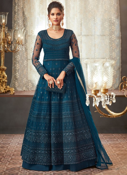 Teal Blue Georgette Wedding Anarkali For Bridesmaids Glamour Vol 73 73001 By Mohini Fashion