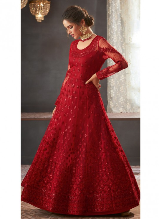 Red Georgette Wedding Anarkali For Bridesmaids Glamour Vol 73 73002 By Mohini Fashion