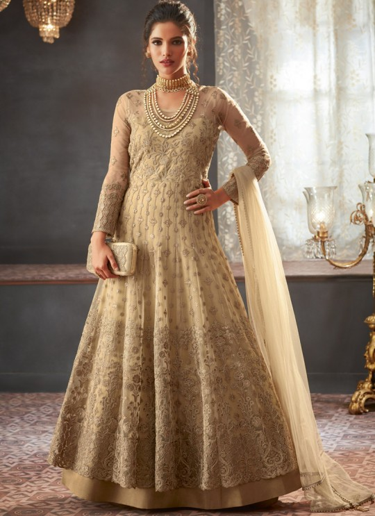 Beige Georgette Wedding Anarkali For Bridesmaids Glamour Vol 73 73003 By Mohini Fashion