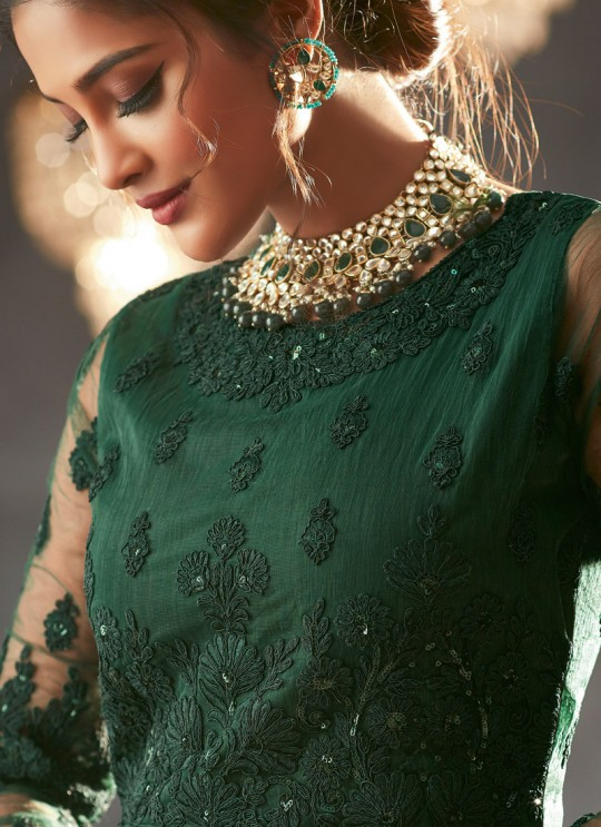 Green Georgette Wedding Anarkali For Bridesmaids Glamour Vol 73 73004 By Mohini Fashion