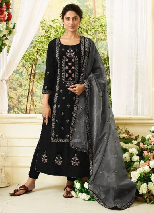 Jennifer Winget Black Muslin Silk Straight Cut Suit Aafreen 115 By Mugdha SC/012294