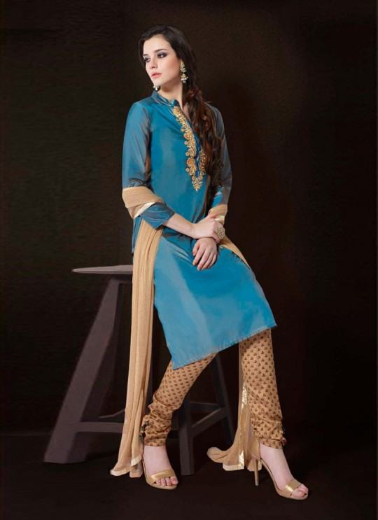 Jennifer Winget Blue Paper Silk Straight Cut Suit Aaina 1129 By Mugdha SC/003142