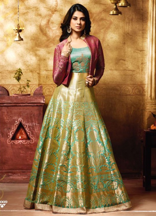 Jennifer Winget Gold Banarsi Silk Gown Style Anarkali Extreme Vol 02 11009 By Mugdha SC/005962