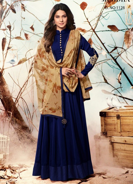 Jennifer Winget Blue Georgette Floor Length Anarkali Jenifer 2 1128 Blue Color By Mugdha SC/010303