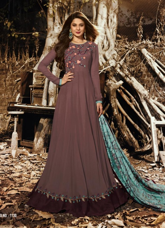 Jennifer Winget Brown Georgette Floor Length Anarkali Jennifer Vol 3 1130 By Mugdha SC/011512
