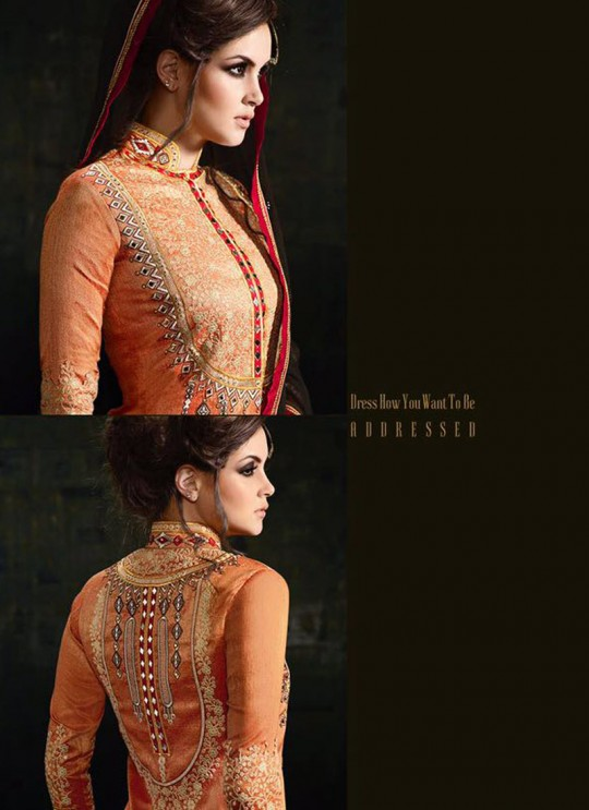Orange Georgette Silk Lehenga Suit Platinum 3 10043 By Mugdha SC/002743