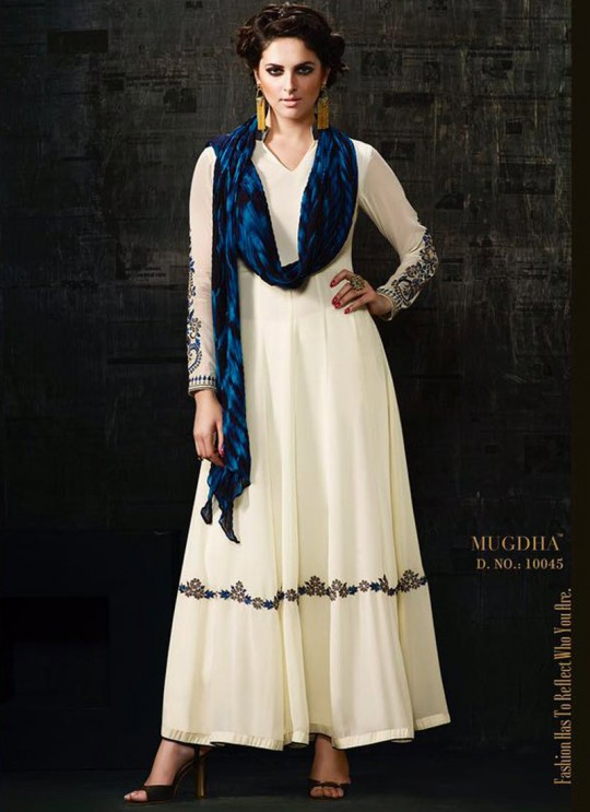 White Georgette Anarkali Suit Platinum 3 10045 By Mugdha SC/002745