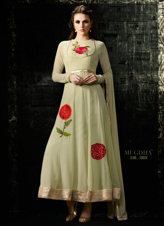 Pista Green Georgette Anarkali Suit Solitaire 3 10034 By Mugdha SC/001289
