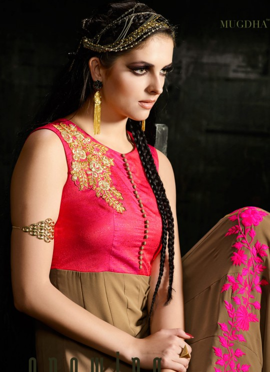 Beige Georgette Ankle Length Anarkali Solitaire 3 10041 By Mugdha SC/001296