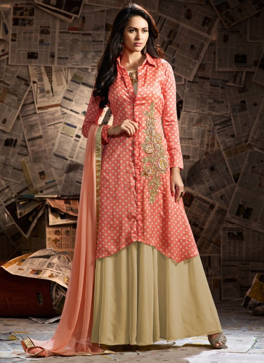 Jennifer Winget Beige Georgette Anarkali Suit Trendy 1105 By Mugdha SC/005953
