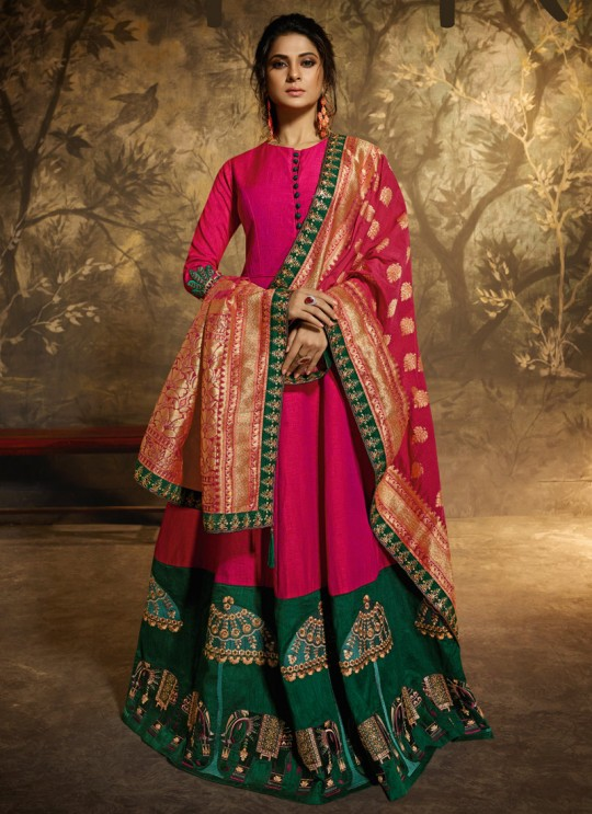 Jennifer Winget Magenta Silk Lehenga Dress Wedding 11028 By Mugdha SC/013799