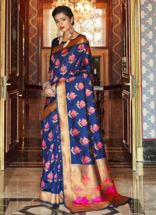 Blue Handloom Silk Wedding Saree Kalanjali Silk 100004 By Rajtex
