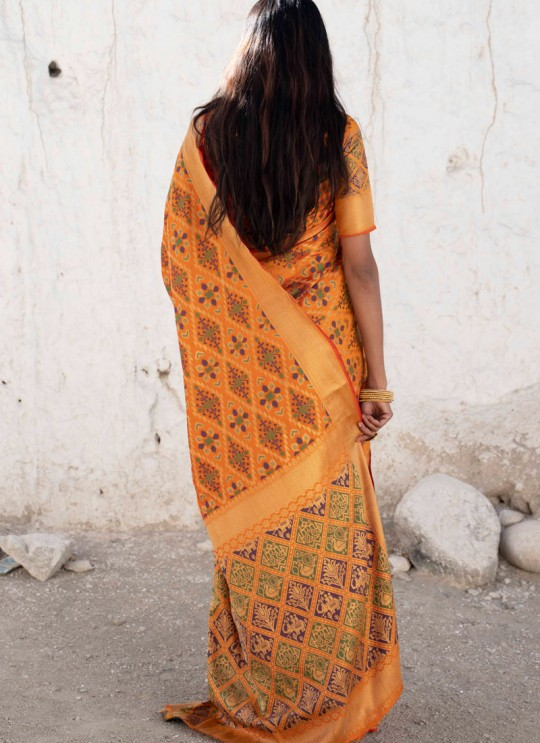 Yellow Handloom Silk Designer Saree Kadampalli Silk 102003 By Rajtex