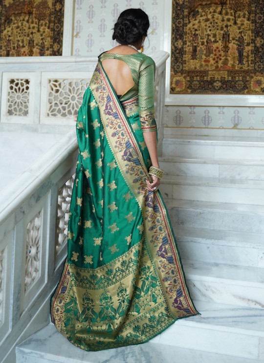 Green Handloom Silk Designer Saree Kohinoor Silk 103004 By Rajtex