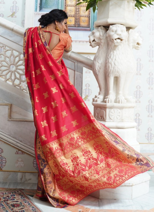 Red Handloom Silk Designer Saree Kohinoor Silk 103005 By Rajtex