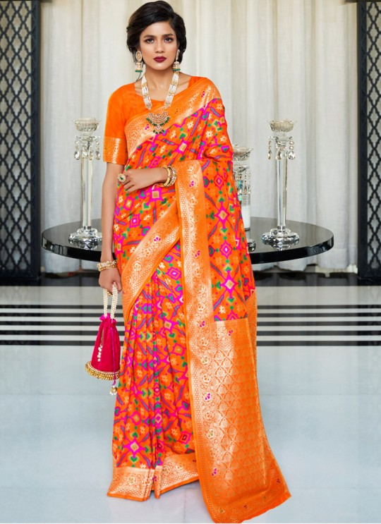 Orange Handloom Silk Wedding Saree Kasturba Silk 105004 By Rajtex