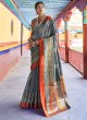 Grey Handloom Silk Designer Saree Karuna Silk 109009 By Rajtex